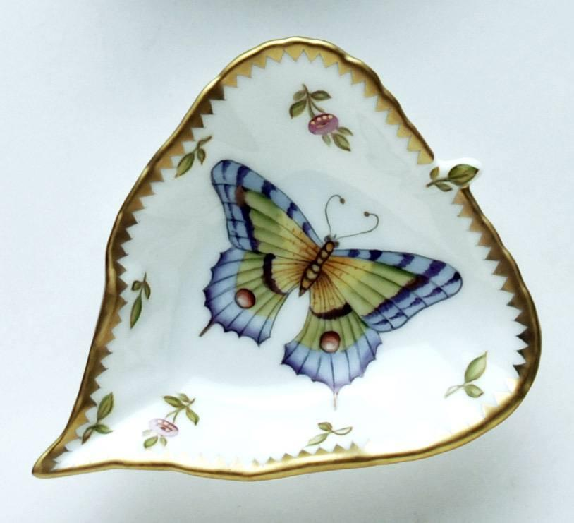 Large Purple & Green Butterfly Leaf Ring Dish