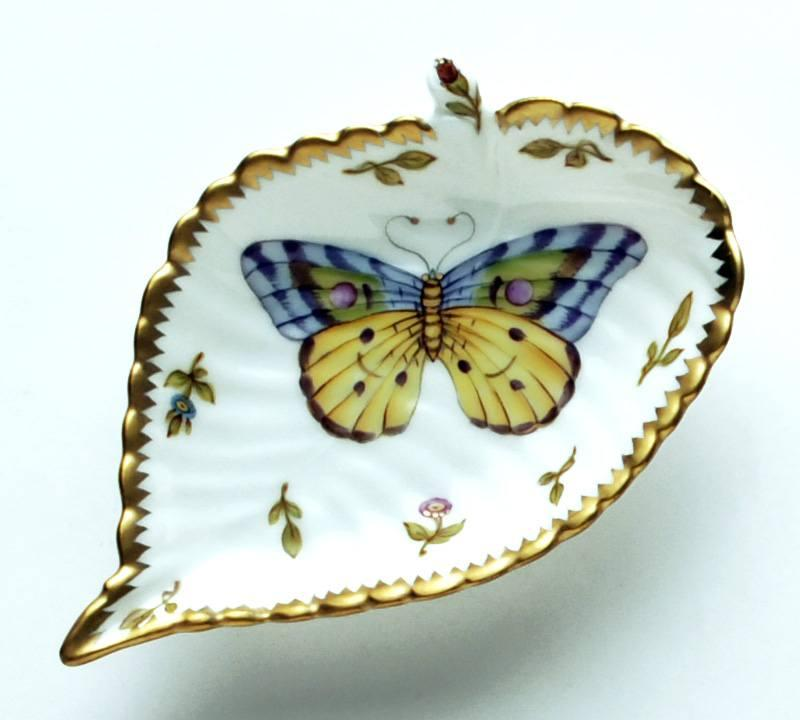 Large Purple & Yellow Butterfly Leaf Ring Dish