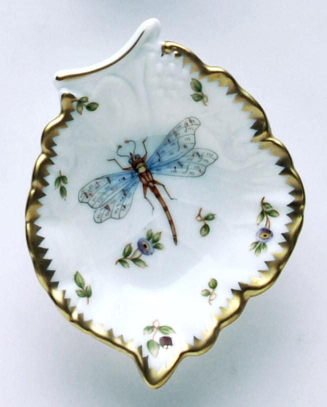 Dragonfly & Green Bug Leaf Ring Dish