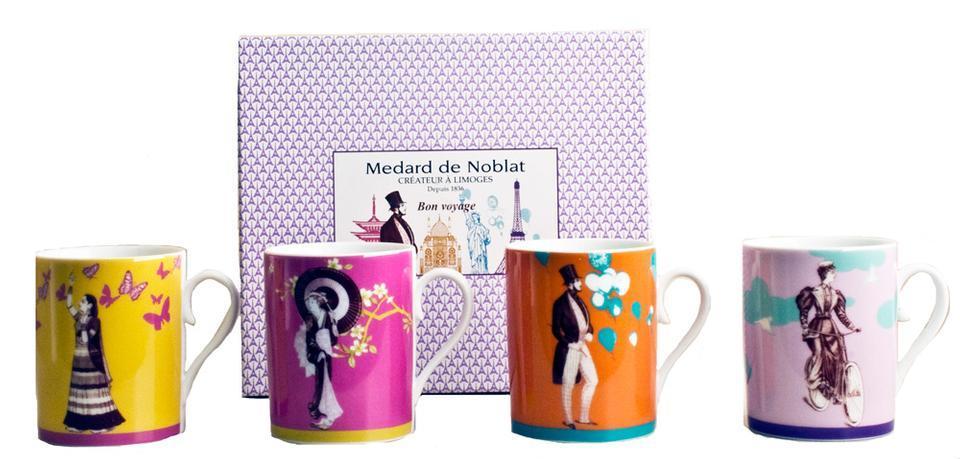 medard de noblat drinkware gift box of 4 assorted mugs from devine. Black Bedroom Furniture Sets. Home Design Ideas