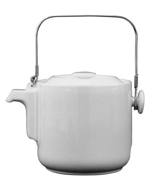 $683.00 White Tea Pot With Metallic Handle