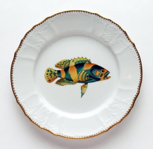$405.00 Aqua/Gold Dinner Plate