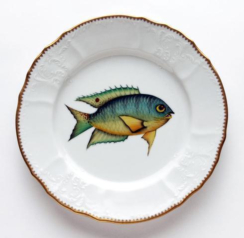 $405.00 Aqua/Yellow Dinner Plate