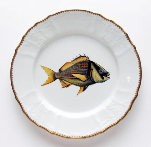 $405.00 Gold/Blue Stripes Dinner Plate