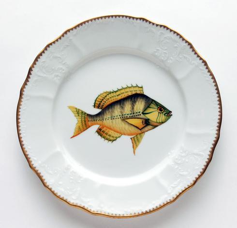 $405.00 Gold/Aqua Highlights Dinner Plate
