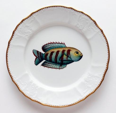 Aqua/Brown Stripes Dinner Plate