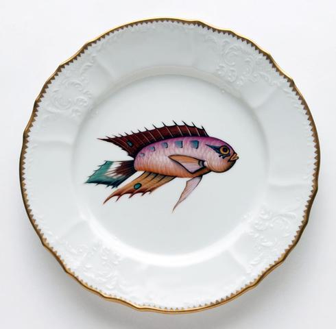 $405.00 Orange/Lavender/Aqua Dinner Plate