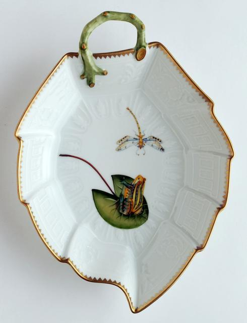 $377.00 Frog On Lily Pad Leaf Dish