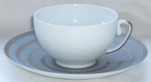 Storm Blue With Metallic Grey Stripes Tea Cup