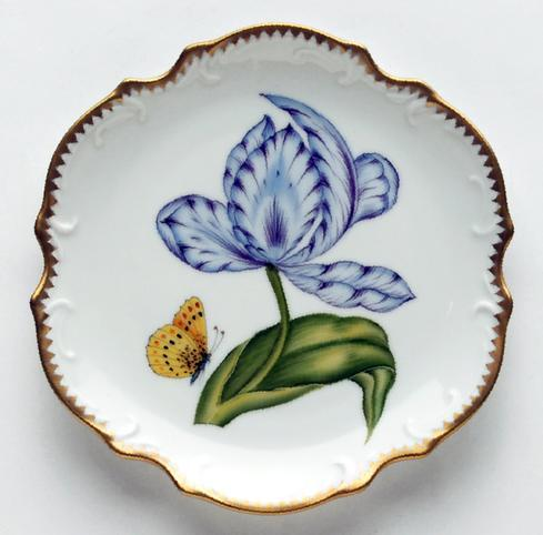 $277.00 Purple & Blue Tulip Bread & Butter Plate