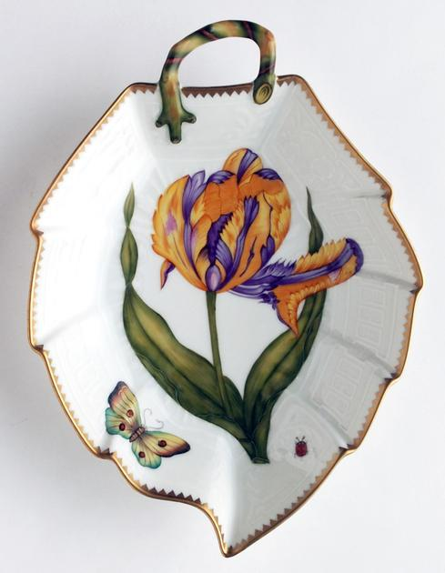 $396.00 Purple & Yellow Tulip Leaf Dish