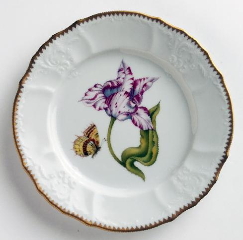 Anna Weatherley  Old Master Tulips Pink & White Tulip Salad Plate $290.00