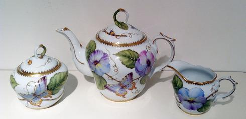 $375.00 Blue/Purple Pansy 3PC Tea Set