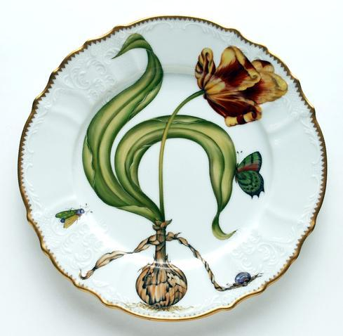 Anna Weatherley  Flowers of Yesterday Yellow Red Tulip Dinner Plate $450.00