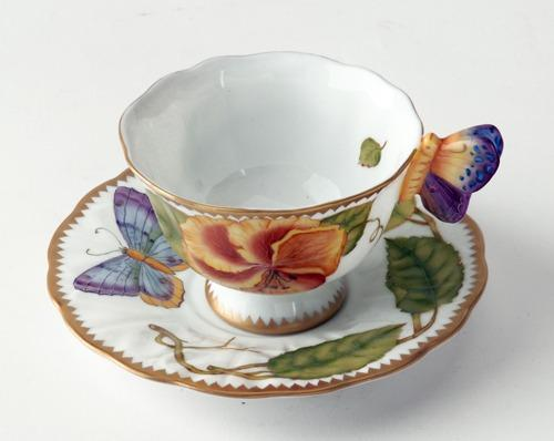$498.00 Butterfly Handle Yellow Posie Cup & Saucer