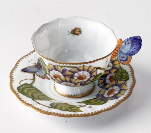 $500.00 Butterfly Handle Triple Flower Cup & Saucer