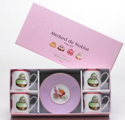 Gift Box Of 4 Assorted Coffee Cups And Saucers