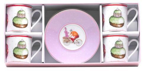 Gift Box Of 4 Assorted Tea Cups And Saucers