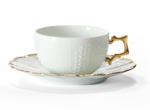 Medard de Noblat  Corail - Or Tea Cup And Saucer $88.00