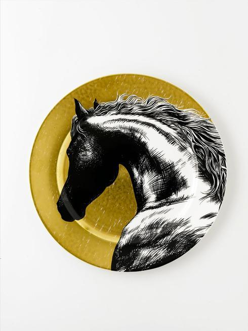 Royal Crown Derby  Equus - Black and Gold Horse Head Plate 23CM $228.00