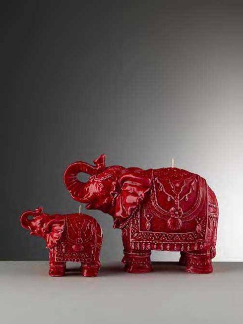 $88.00 Medium Red Glazed Elephant Candle
