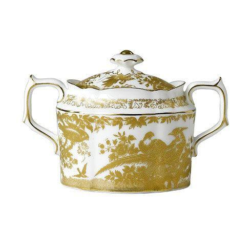 Royal Crown Derby  Aves - Gold Covered Sugar Bowl $456.00
