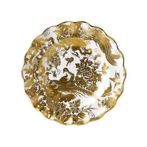 Royal Crown Derby  Aves - Gold Fluted Dessert Plate $260.00
