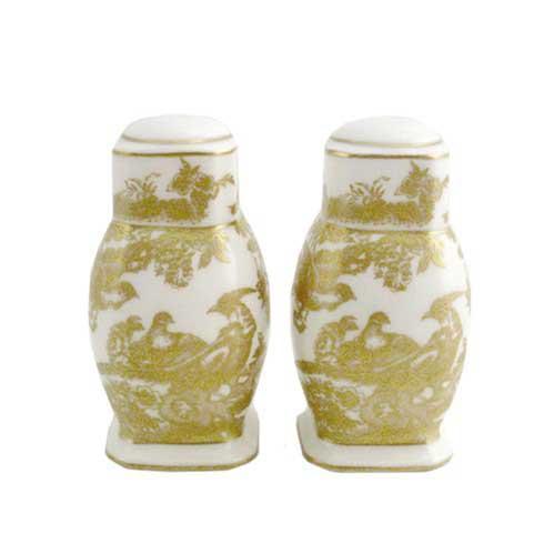 Royal Crown Derby  Aves - Gold Gift Boxed Salt & Pepper $414.00
