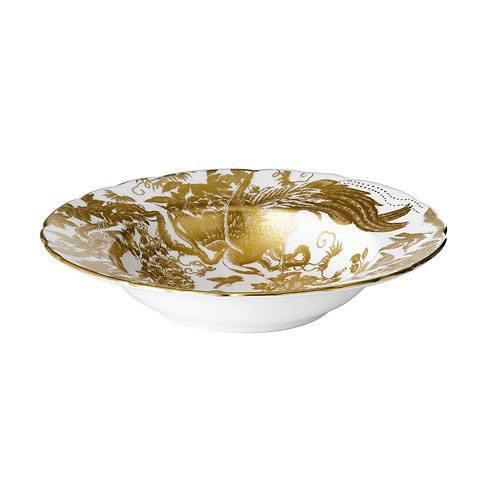 Royal Crown Derby  Aves - Gold Rim Soup Plate $218.00