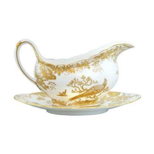 Royal Crown Derby  Aves - Gold Sauce Boat $518.00