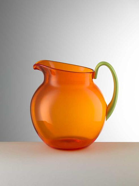 $75.00 Orange Pitcher With Green Handle