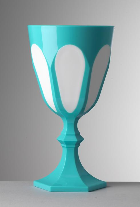 $25.00 Turquoise/White Water Goblet