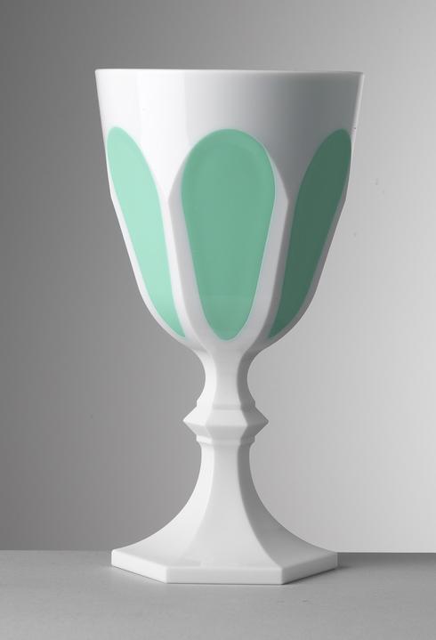 $25.00 White/Aqua Water Goblet