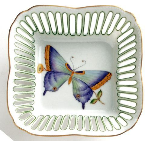 Square Dish Butterfly Green