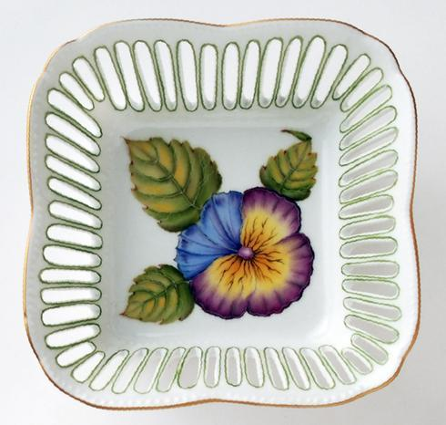 Small Square Dish Flower Green