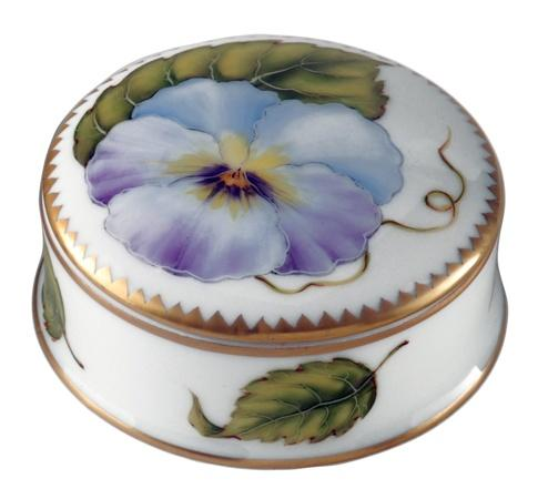 Small Round Covered Box with Purple Flower