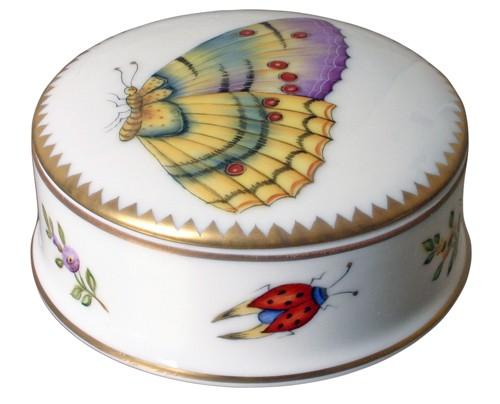 $206.00 Small Round Covered Box with Yellow Butterfly