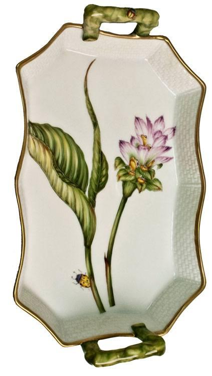 Anna Weatherley  Studio Collection Pink Thistle Tray With Handles $290.00