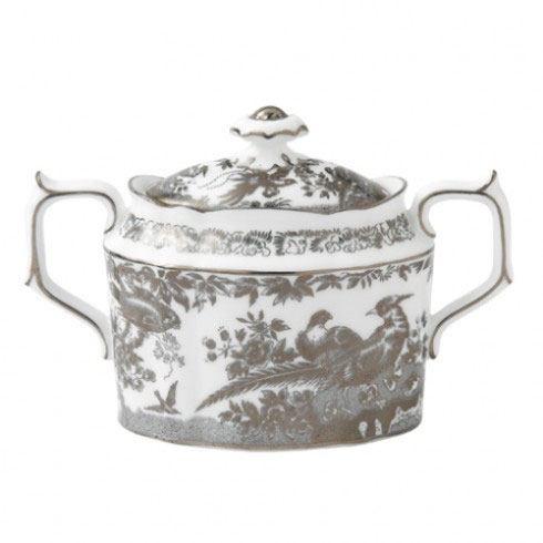 Royal Crown Derby  Aves - Platinum Covered Sugar Bowl $378.00