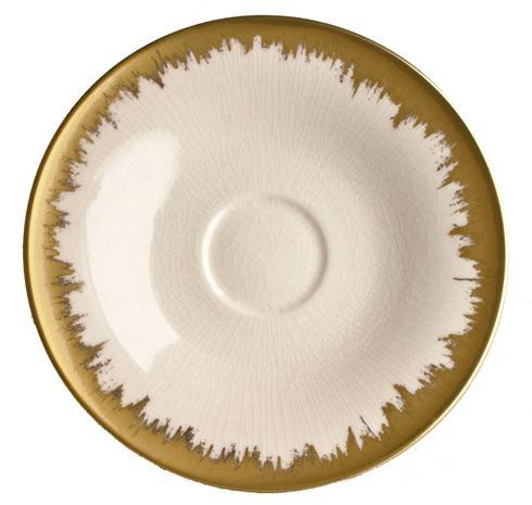 Kim Seybert  Aura (Brushstroke) Opal Tea/Breakfast Saucer with Gold Brushstroke $54.00