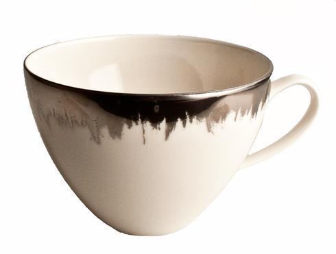 $88.00 Opal Tea/Breakfast Cup with Platinum Brushstroke