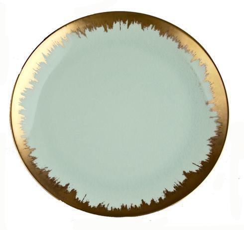 Kim Seybert  Aura (Brushstroke) Sea Glass Dessert with Gold Brushstroke $68.00