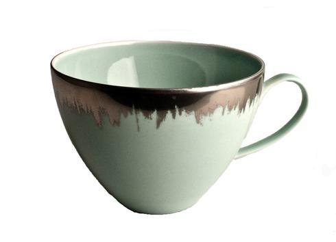 $88.00 Sea Glass Tea/Breakfast Cup with Platinum Brushstroke