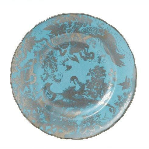 Royal Crown Derby   Aves Platinum Turquoise Salad Plate $205.00