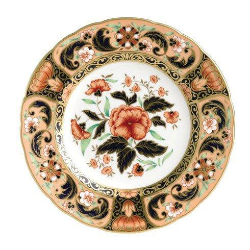 Royal Crown Derby  Imari Accent Derby Pink Camellias Plate in Gift Box $244.00