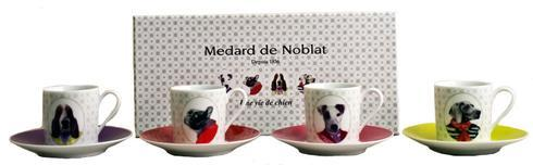 $120.00 Gift Box Of 4 Assorted Coffee Cups And Saucers