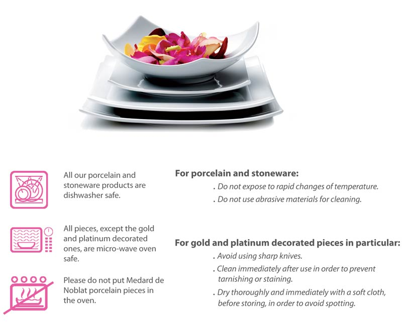 Care instructions for Medard de Noblat tableware